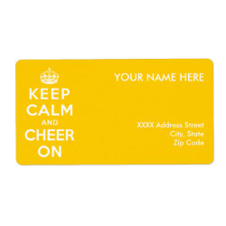 Shipping Label with Keep Calm and Cheer On design