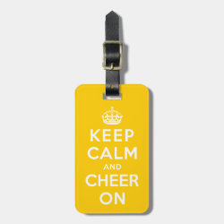 Small Luggage Tag with leather strap with Keep Calm and Cheer On design
