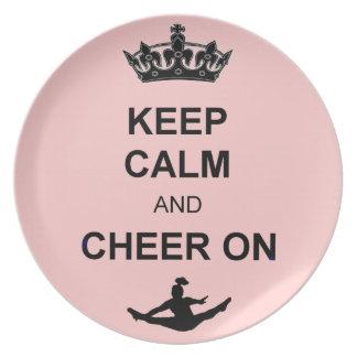 Keep Calm and Cheer on Melamine Plate