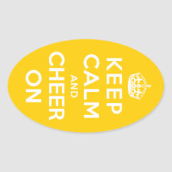 Oval Sticker with Keep Calm and Cheer On design