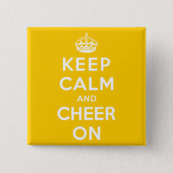 Square Button with Keep Calm and Cheer On design