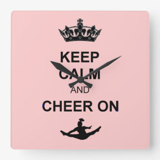 Keep Calm and Cheer on Square Wall Clock
