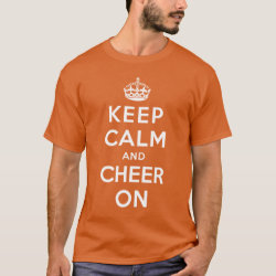 Men's Basic Dark T-Shirt with Keep Calm and Cheer On design