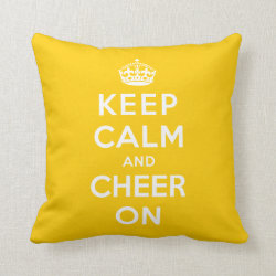 Cotton Throw Pillow with Keep Calm and Cheer On design