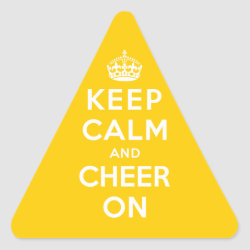 Triangle Sticker with Keep Calm and Cheer On design