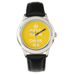 Kid's Stainless Steel Black Leather Strap Watch with Keep Calm and Cheer On design