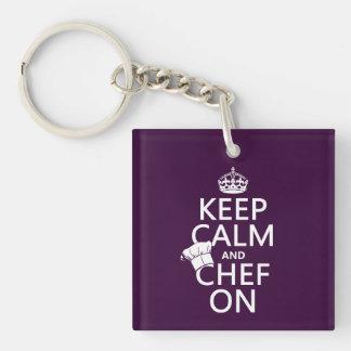 Keep Calm and Chef On (customizable) Keychain