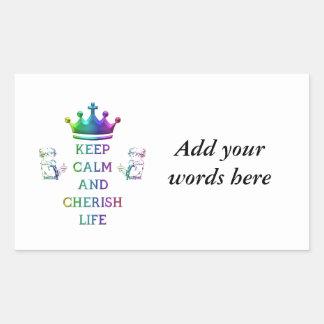 Keep Calm and Cherish Life Rectangular Sticker