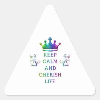 Keep Calm and Cherish Life Triangle Sticker
