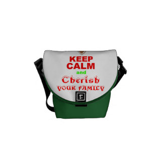"""Keep Calm and Cherish Your Family"" Merry Xmas Messenger Bag"