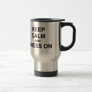 Keep Calm and Chess On gray blue black Travel Mug