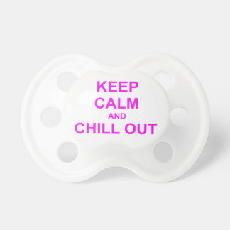 Keep Calm and Chill Out red pink gray Pacifier