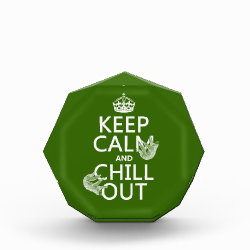 Small Acrylic Octagon Award with Keep Calm and Chill Out (sloths) design