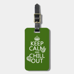 Small Luggage Tag with leather strap with Keep Calm and Chill Out (sloths) design