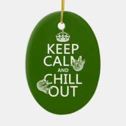 Oval Ornament with Keep Calm and Chill Out (sloths) design