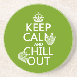 Sandstone Drink Coaster with Keep Calm and Chill Out (sloths) design