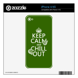 iPhone 4/4S Skin with Keep Calm and Chill Out (sloths) design