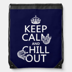 Drawstring Backpack with Keep Calm and Chill Out (sloths) design