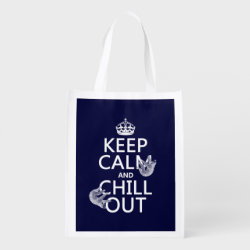 Reusable Grocery Bag with Keep Calm and Chill Out (sloths) design