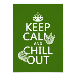 5.5' x 7.5' Invitation / Flat Card with Keep Calm and Chill Out (sloths) design