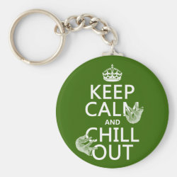 Keep Calm and Chill Out (sloths) Basic Button Keychain