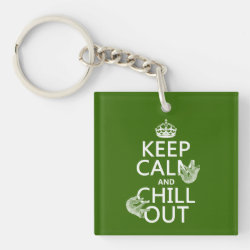 Square Keychain with Keep Calm and Chill Out (sloths) design