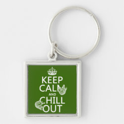 Premium Square Keychain with Keep Calm and Chill Out (sloths) design
