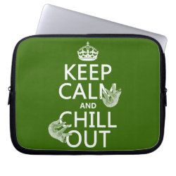 Neoprene Laptop Sleeve 10 inch with Keep Calm and Chill Out (sloths) design