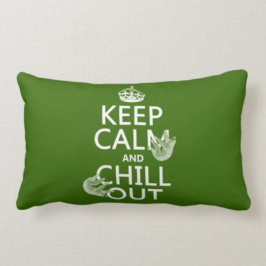 Keep Calm and Chill Out (sloth) (any color) Lumbar Pillow