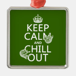 Premium Square Ornament with Keep Calm and Chill Out (sloths) design