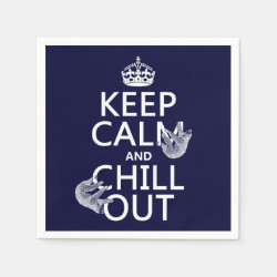Paper Napkins with Keep Calm and Chill Out (sloths) design
