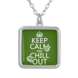 Small Necklace with Keep Calm and Chill Out (sloths) design