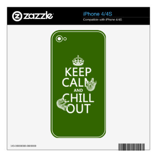 Keep Calm and Chill Out (sloth) (any color) Skins For iPhone 4S