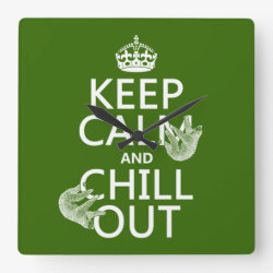 Square Wall Clock with Keep Calm and Chill Out (sloths) design