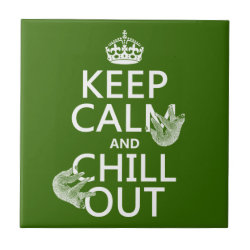 Small Ceremic Tile (4.25' x 4.25') with Keep Calm and Chill Out (sloths) design