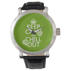 Keep Calm and Chill Out (sloths) Men's Vintage Black Leather Strap Watch