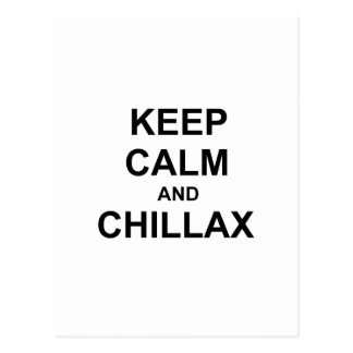Keep Calm and Chillax black gray blue Postcard