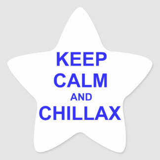Keep Calm and Chillax black gray blue Star Sticker