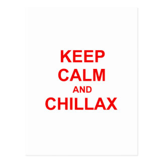 Keep Calm and Chillax orange pink red Postcards