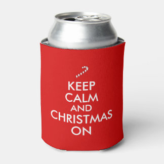Keep Calm and Christmas On Candy Cane Customizable Can Cooler