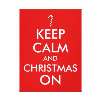 Keep Calm and Christmas On Candy Cane Customizable Canvas Print