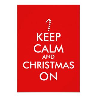 Keep Calm and Christmas On Candy Cane Customizable Card