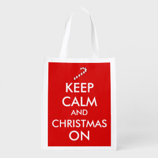 Keep Calm and Christmas On Candy Cane Customizable Reusable Grocery Bags