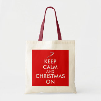 Keep Calm and Christmas On Candy Cane Customizable Tote Bag