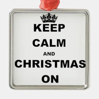 KEEP CALM AND CHRISTMAS ON SQUARE METAL CHRISTMAS ORNAMENT