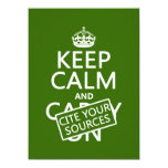 Keep Calm and Cite Your Sources (in any color) 5.5x7.5 Paper Invitation Card