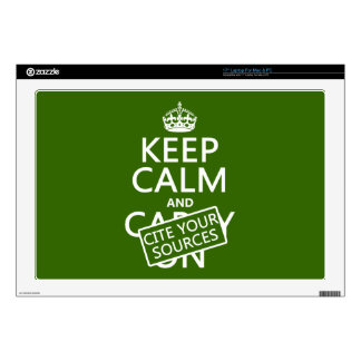 Keep Calm and Cite Your Sources (in any color) Laptop Skins