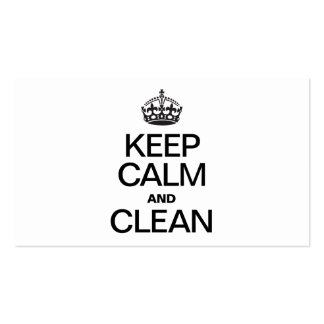 KEEP CALM AND CLEAN BUSINESS CARD TEMPLATES