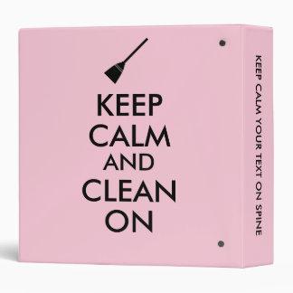 Keep Calm and Clean On Broom Custom Binder
