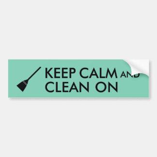 Keep Calm and Clean On Broom Custom Bumper Sticker